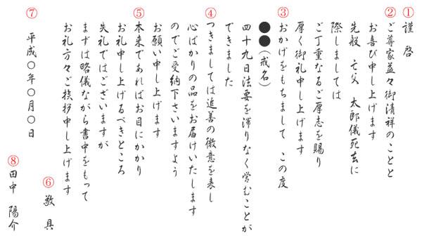 仏教のお礼状・挨拶状の一般的な文例